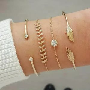 Gold color 4 piece Leaf bracelet set